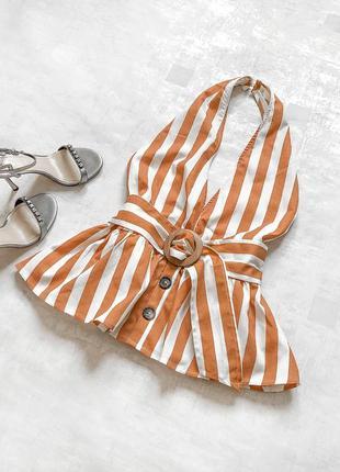 Стильная льняная блуза asos в модные полосы терракотового цвета со стильным поясом