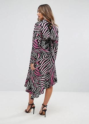 Шикарное миди платье анималистический принт asos платье миди зебра ассиметричное сукня міді