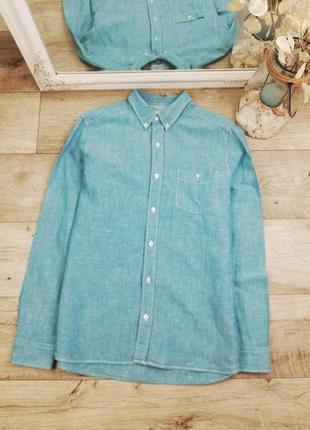 Фирменная стильная льняная рубашка next 55% лен