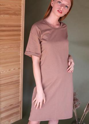 Бежевое платье футболка прямого кроя