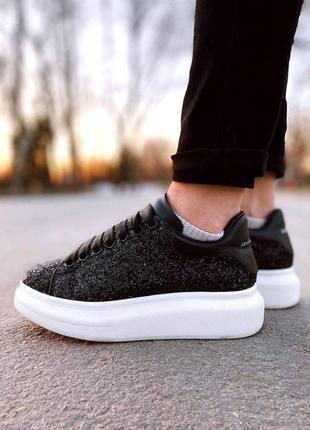 Шикарные женские кроссовки alexander mcqueen luxury svarovski black наложка