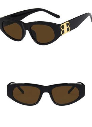 Крутые солнцезащитные очки узкие черные коричневые тренд геометрия новые окуляри сонцезахисні