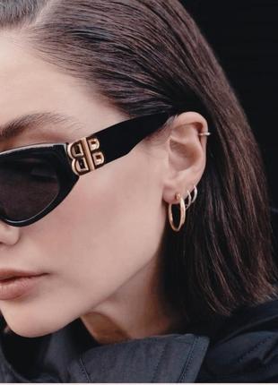 Крутые солнцезащитные очки узкие черные коричневые тренд геометрия новые окуляри сонцезахисні4 фото