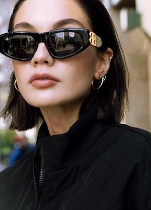 Крутые солнцезащитные очки узкие черные коричневые тренд геометрия новые окуляри сонцезахисні3 фото