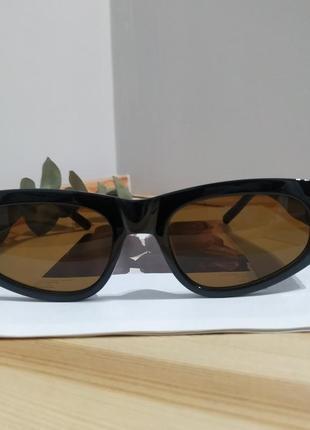 Крутые солнцезащитные очки узкие черные коричневые тренд геометрия новые окуляри сонцезахисні5 фото