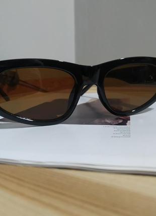 Крутые солнцезащитные очки узкие черные коричневые тренд геометрия новые окуляри сонцезахисні7 фото