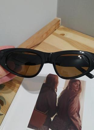Крутые солнцезащитные очки узкие черные коричневые тренд геометрия новые окуляри сонцезахисні8 фото