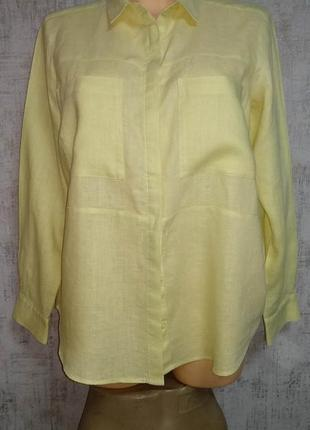 Рубашка льняная женская m-l размер евро 40 лен 100% бангладеш