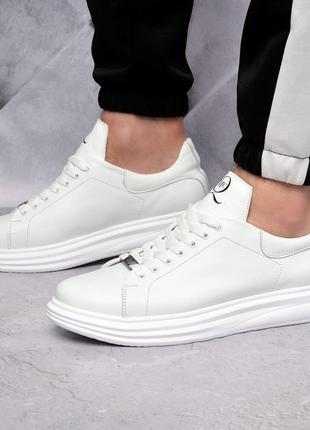 Кожаные белые кеды кроссовки мужские