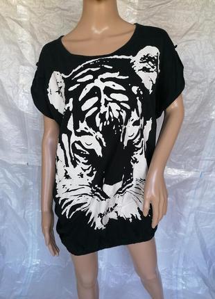 Черная туника оверсайз oversize принт рисунок тигр v&d (к000)
