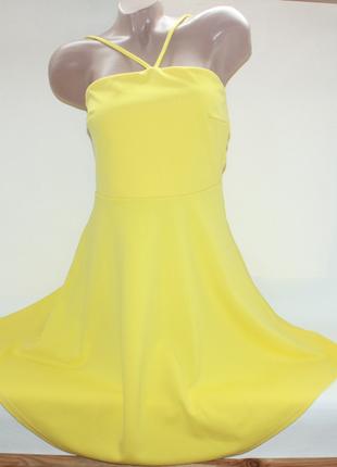 Платье желтое трапеция boohoo 12р (к025)