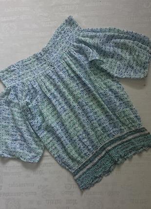 Кокетливая летняя блуза avent, цветочная кофточка 30%шелк, открытые плечи