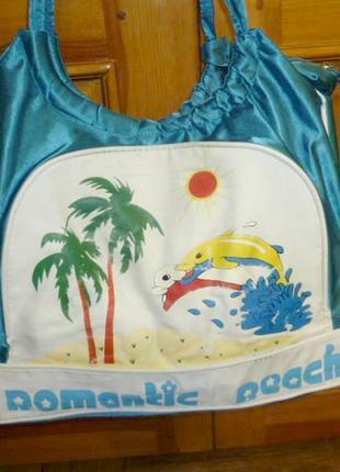 Летняя пляжная сумка большая яркая прочная,две ручки на плечо