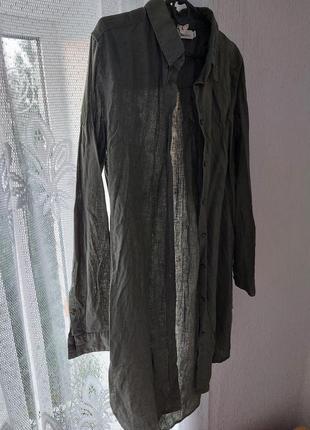Льняное платье-рубашка от h&m