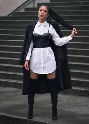 Женское платье-рубашка с кожаным топом🔥👍хит сезона🔥👍
