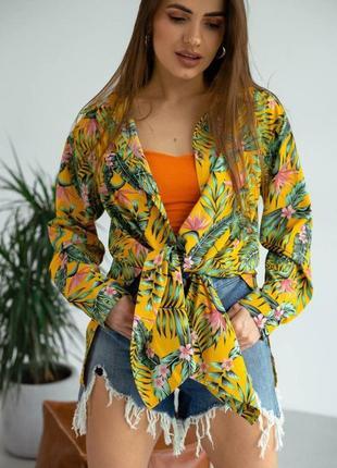 Рубашка-туника летняя с цветочным принтом в цветочек лёгкая летняя повседневная яркая свободного кроя оверсайз пляжная на завязках