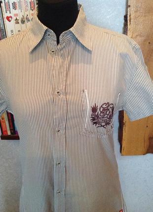 Натуральная рубашка с вышивкой бренда edc, р. 48-50