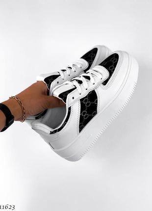 Кроссовки =girnai= 11623 black+white экокожа+ обувной текстиль
