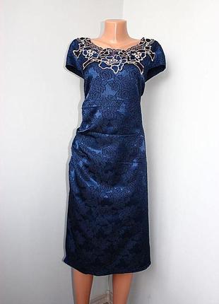 Платье футляр в облипку темно-синее гобелен с ажуром комби материала (2762)
