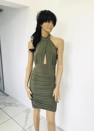 Новое шикарное платье цвета хаки - халтер от prague  1+1=3 на всё 🎁