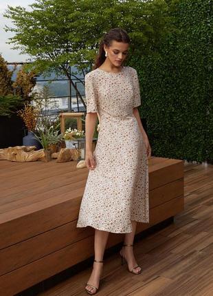 Сукня бренду vovk (молочні квіти на фоні моко)