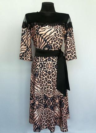 Суперцена. элегантное платье миди, комбинированное. новое, р-р 46-48