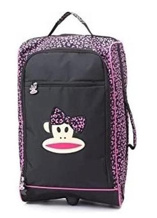 Уценка!!!!! дорожная сумка, чемодан на колесиках, с выдвижной ручкой. бренд paul frank
