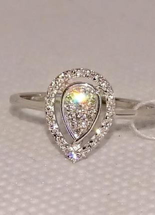 Кольцо каблучка капля бриллиант діамант белое золото 585