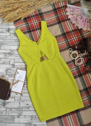 Вечернее платье миди футляр бандажное лимонное яркое miss selfridge