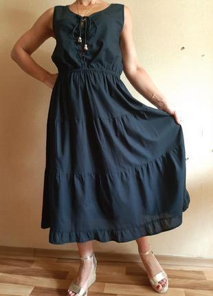 Легкайшее черное ярусное хлопковое платье