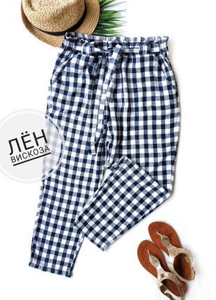 Легкие укороченные брюки из льна и вискозы primark.