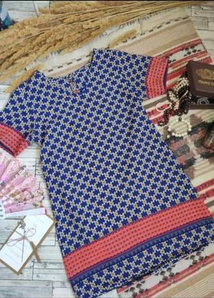 Платье туника миди яркое свободное орнамент