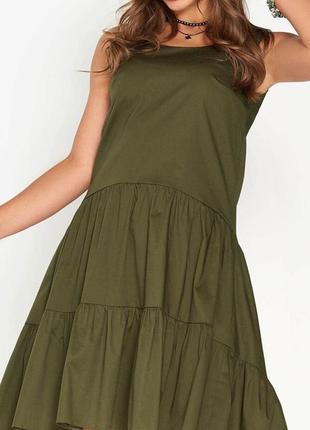 Стильное хлопковое платье свободного