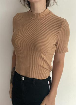Базовая футболка - водолазка в рубчик
