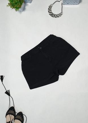 🖤 джинсовые чёрные шорты с подворотом. ткань хорошо тянется, стейчевая