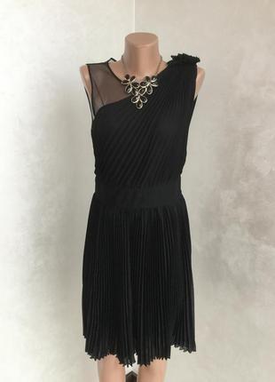 Идеальное меленькое чёрное платье 🖤 коктельное вечернее платье миди плиссе warehouse