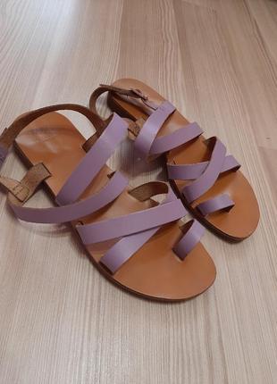 Лавандовые кожаные босоножки сандалии из натуральной кожи