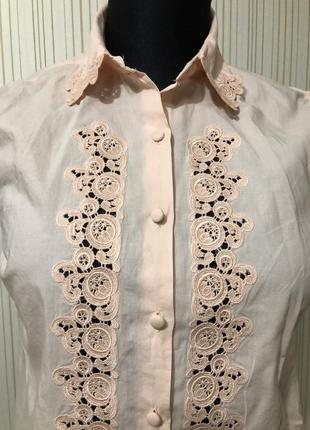 Блуза с прошвой летняя персиковый цвет