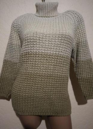 Классный теплый плотный шерстяной свитер под шею/водолазка olsen размер s