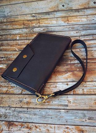 Синяя мужская кожанная сумка, барсетка, портмоне ручной работы