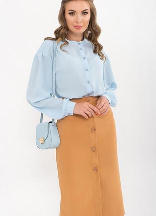 Стильная блуза/креп-шифон жатка/цвет голубой, черный,пыльная роза