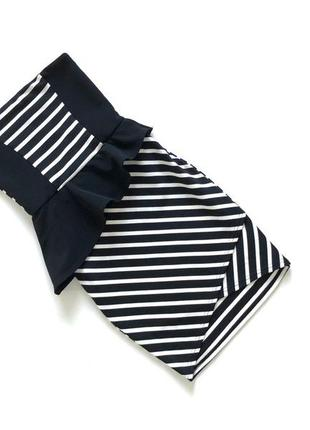 Стильное черно-белое платье в полоску приталеное asos