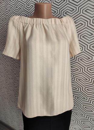 Блуза бежевая в полоску с открытыми плечами hm летгяя легкая