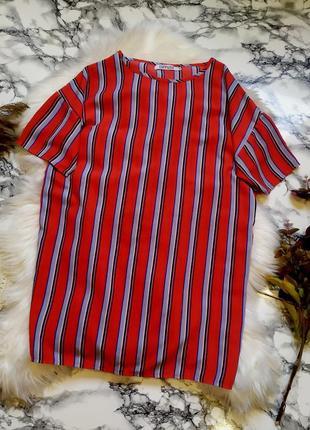 Стильное яркое платье в полоску свободного кроя размер m
