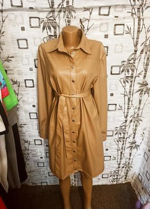Платье - рубашка из эко кожи