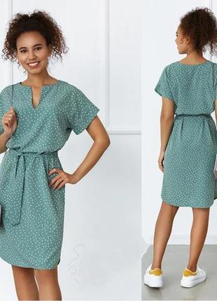 Легкое летнее платье в горошек миди