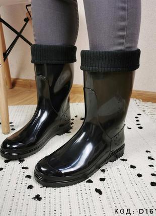 Сапоги резиновые женские черные с носком гумові чобітки