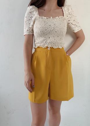 Горчично-желтые шорты бермуды f&f
