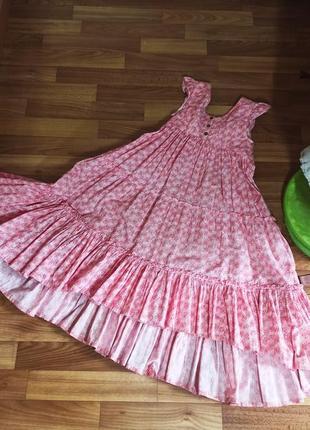 Шикарное длинное платье из хлопка на 9-10 лет