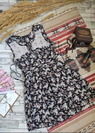 Платье сарафан миди кружевное нежное цветочное легкое вискоза размер s dorothy perkins